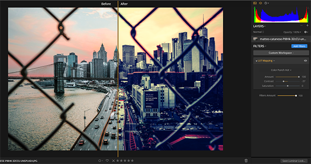 Split screen of image with and without applied LUT
