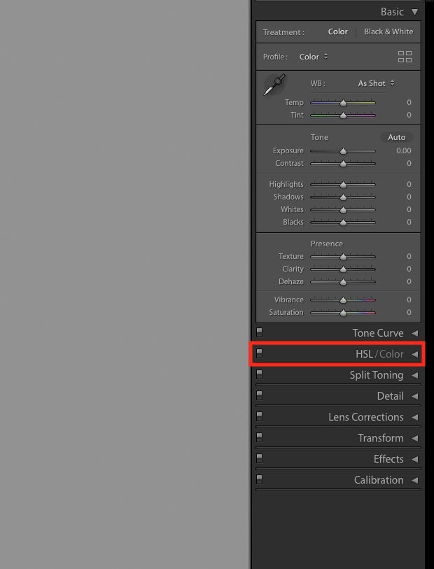 Screenshot of editing sidebar in Lightroom Develop panel. HSL/Color option is highlighted with red box.