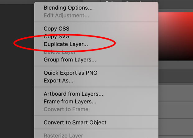 Duplicate Layer option circled in red on Photoshop's right-click menu