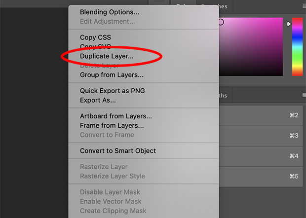 Duplicate Layer option circled in red from Photoshop's right-click menu