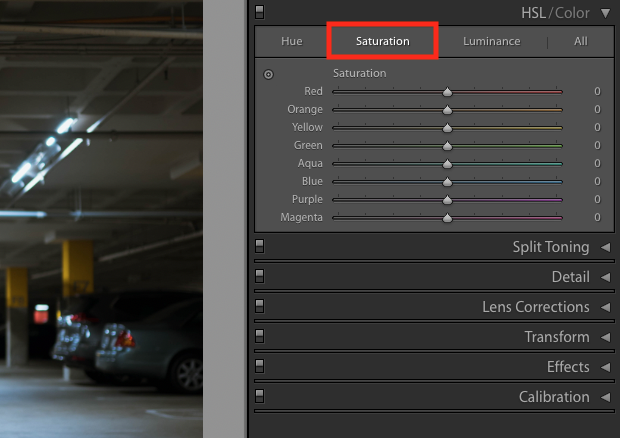 HSL/Color panel of Lightroom's Develop module is extended to reveal options. Saturation is emphasized with a red box and saturation options are available.