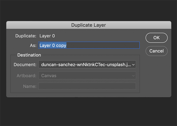 Duplicate Layer panel in Photoshop