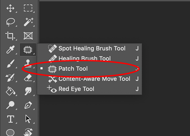 Patch Tool icon circled in red on Photoshop's left-hand toolbar