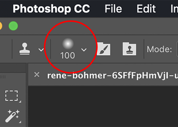 Clone Stamp Tool brush options icon circled in red