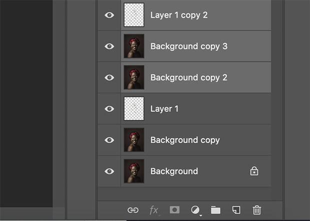 Layers Panel with duplicated layers