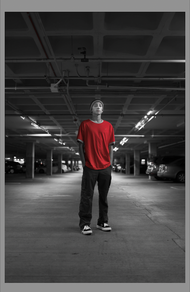Red tones in the initial image in the car taillights and the model's face have been erased. The entire picture, except for the man's shirt, is now black and white.