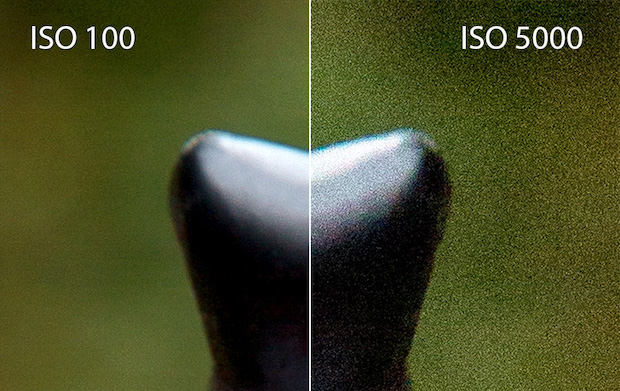 ISO 100 compared to ISO 5000 to show amount of digital noise