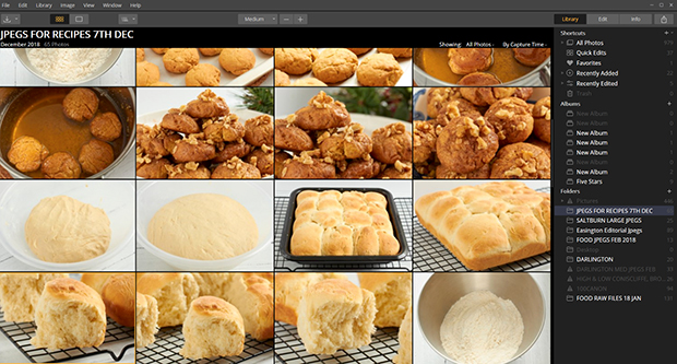Luminar library populated with images of bread