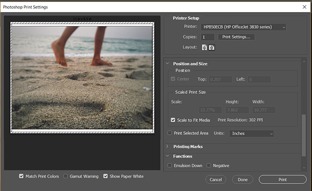 Photoshop print settings