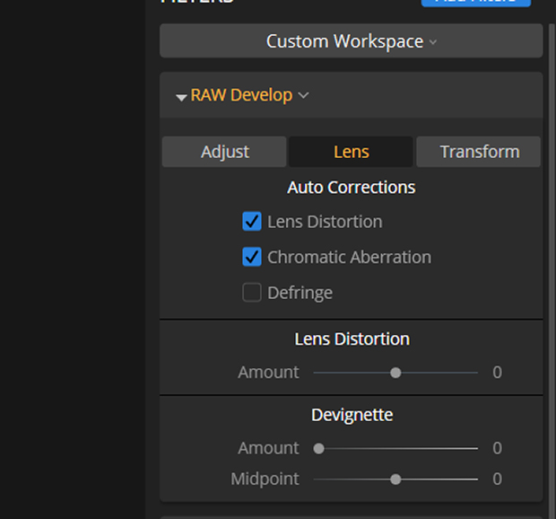 Lens tab in Luminar's RAW Develop drop-down menu