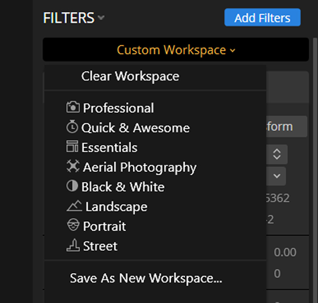Custom workspace in Luminar