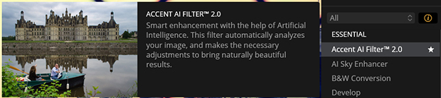 Information bubble for Accent AI Filter in Luminar