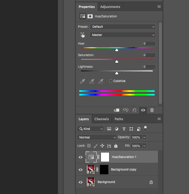 "Hue, Saturation, and Lightness panels in ""Properties"" panel on Photoshop's right-hand toolbar above Layers panel."