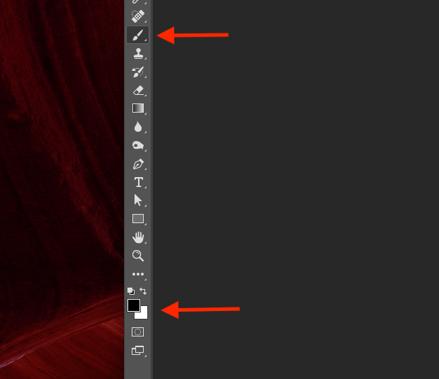 Two red arrows pointed to Photoshop's brush tool icon and the color swatches on the left-hand of the screen.