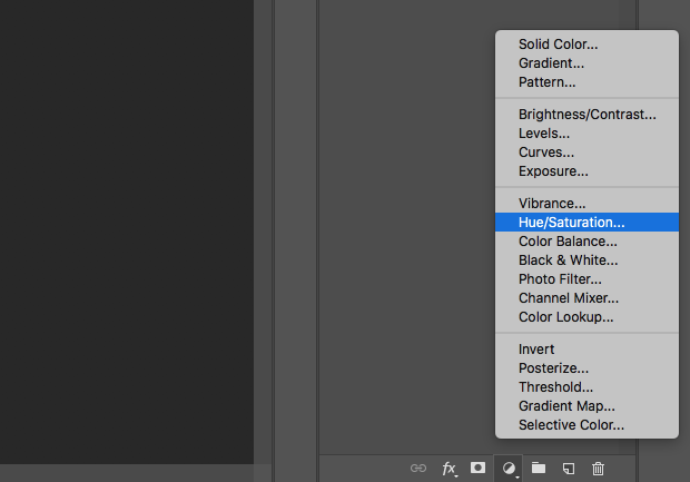 """Hue/Saturation"" option selected from Photoshop's Adjustment Layer icon on lower right-hand of the screen."