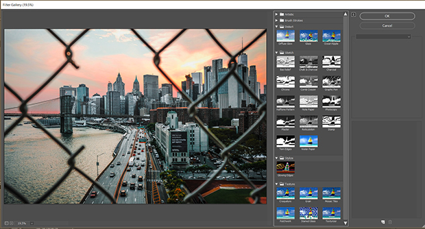 Cityscape photo in Photoshop workspace with filters gallery panel extended on the right