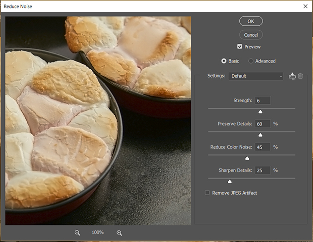 photo of pan-baked bread in Luminar workspace with noise panel maximized on the right side
