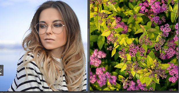 Side-by-side of a simple portrait and a photo of purple flowers