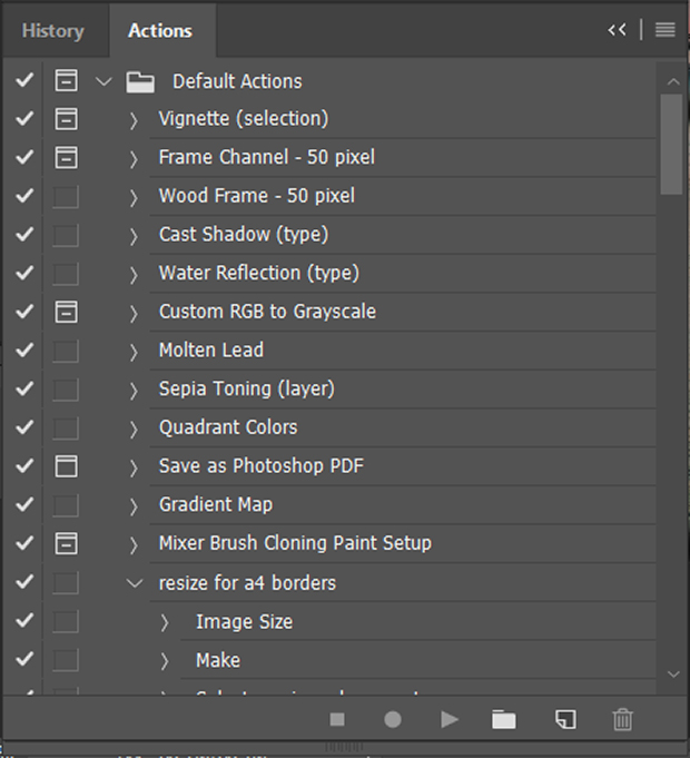 Actions panel in Photoshop