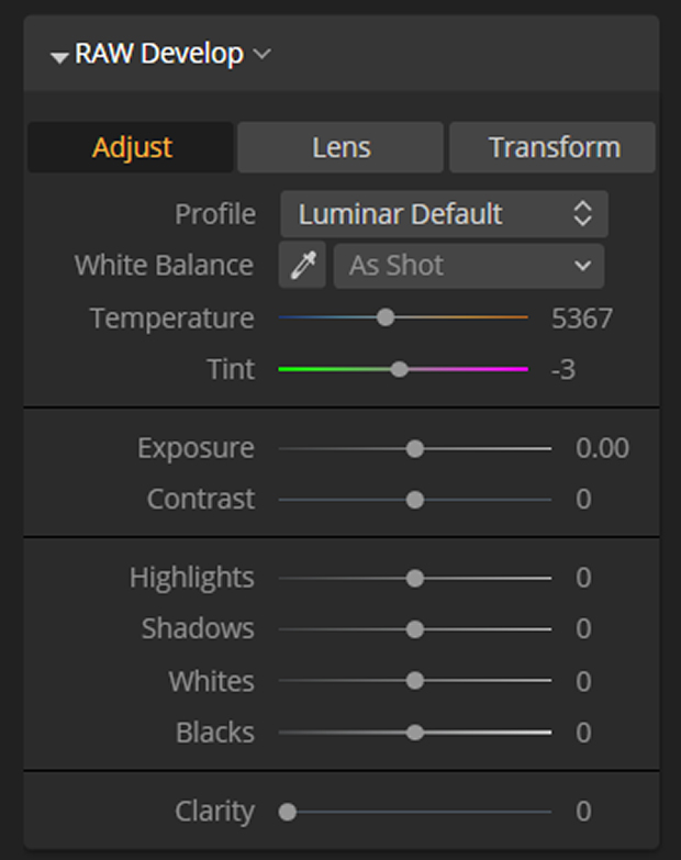 Adjustment panel in Luminar
