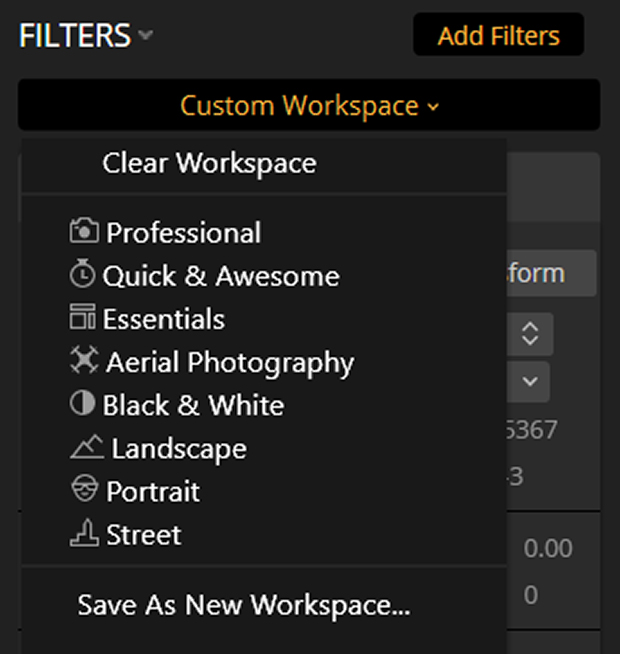 Filters panel under Workspaces in Luminar