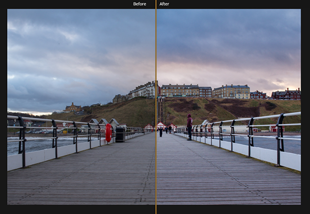 boardwalk photo divided in half with the left side darker and the right side more exposed