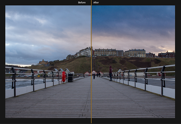 Boardwalk image with original photo displayed on the left and the AI Sky Enhancer applied on the right