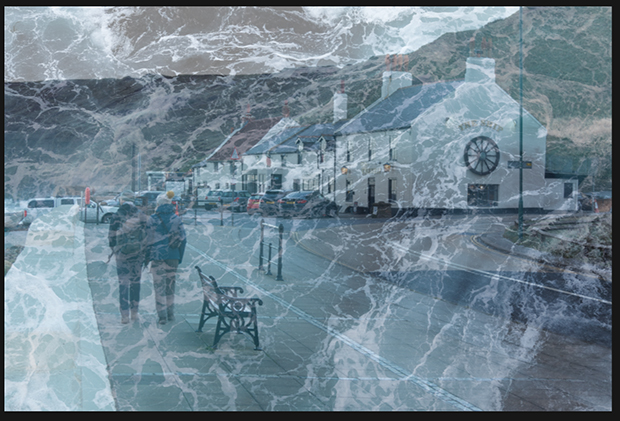 Texture image of ocean waves overlaying the pub image