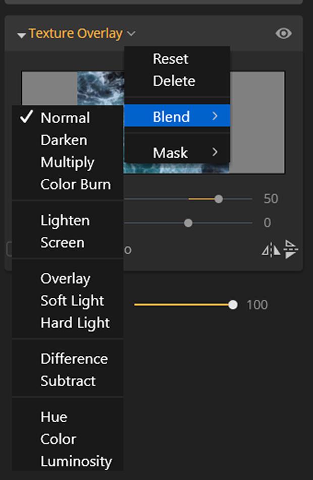 Texture Overlay blending options in Luminar