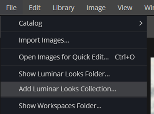 File >> Add Luminar Looks Collection...