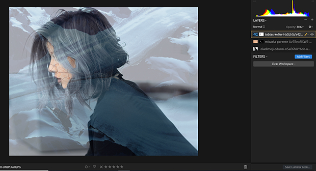 A third layer added to composition in Luminar workspace