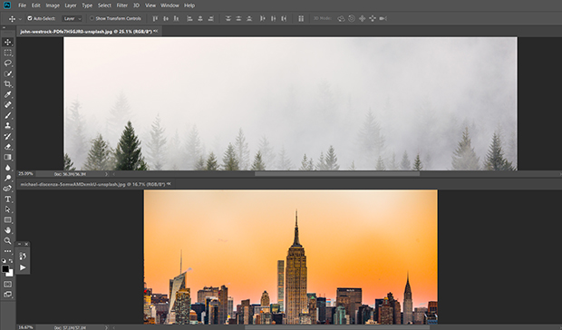 Two images loaded into Photoshop workspace: forest tree line image and city skyline image
