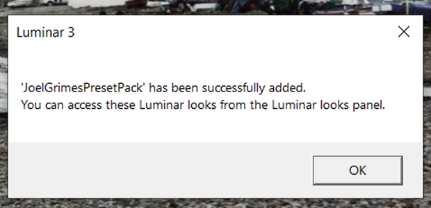 Dialog box from Luminar 3 indicating that the Looks have been added