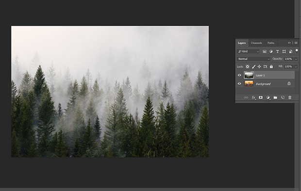 Both images in the same workspace as separate layers in Photoshop