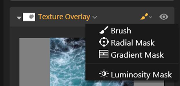 Texture Overlay Brush selected in Luminar