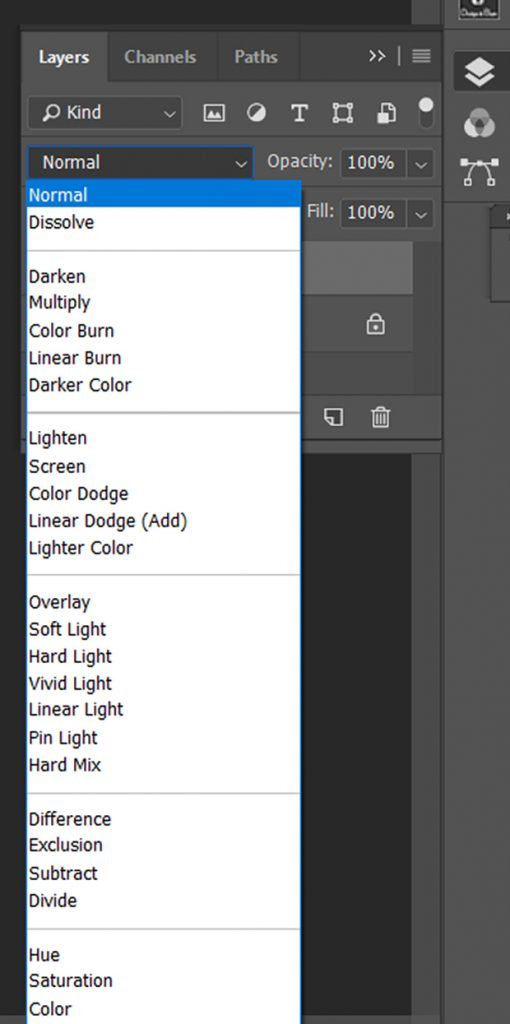 Photoshop's Blend Modes panel extended and options revealed