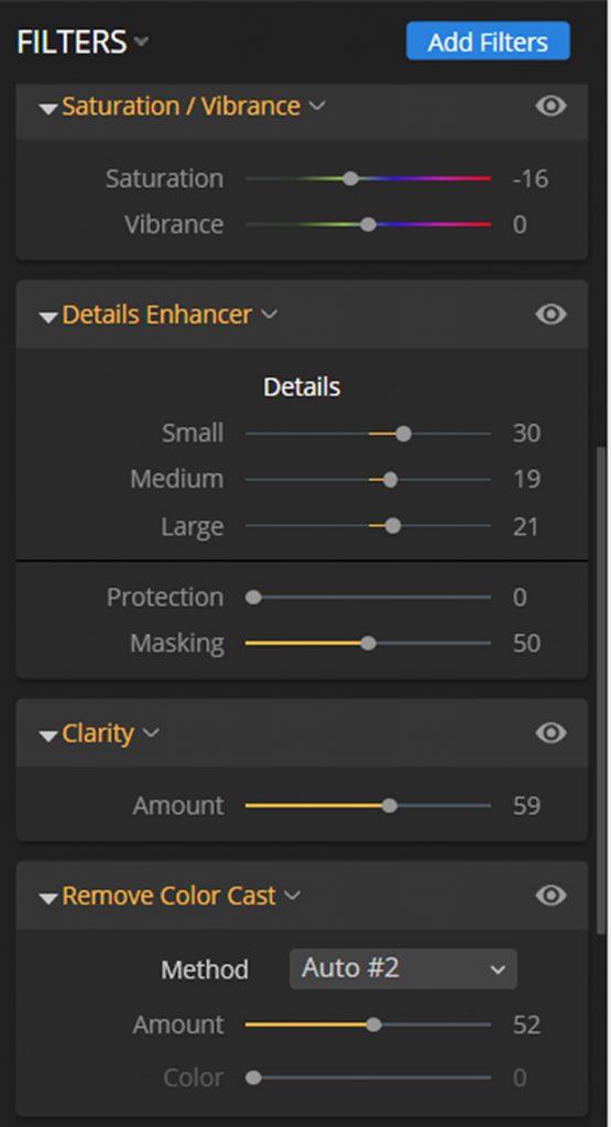 Filters panel in Luminar
