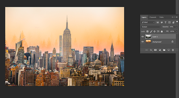 Opacity slider adjusted to make city skyline image more present in the double exposure