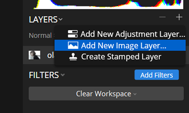 Add New Image Layer in Luminar Layers panel