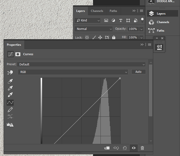 Curves adjustment layer menu in Photoshop