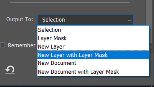 Output To >> New Layer with Layer Mask