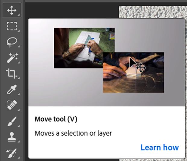 Photoshop's Move Tool (keyboard shortcut v)