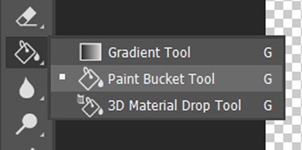 Photoshop's Paint Bucket Tool selected