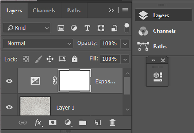 Exposure adjustment layer added to texture layer in Photoshop