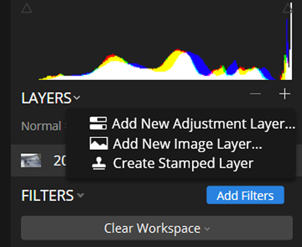 """Layers menu in Luminar with """"Add Filters"""" option selected"""