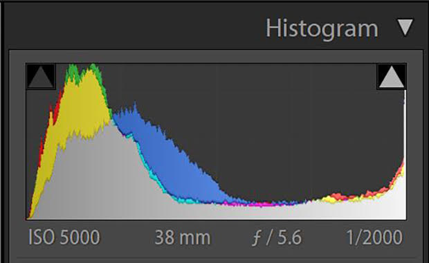 Camera settings histogram showing a high ISO of 5000, a 38mm focus, an aperture of f/5.6 and a shutter speed of 1/2000.