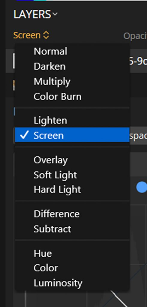 Luminar Layers options with Screen option selected