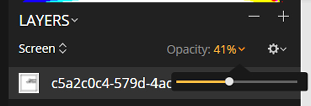 Opacity reduced to 41% in Luminar Layers Panel