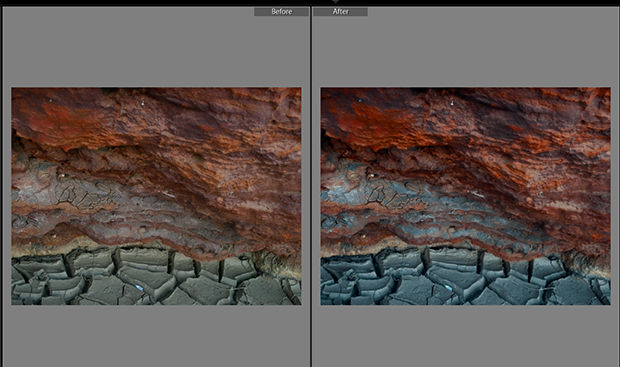 Before and after comparison of Lightroom LUT applied to original landscape image