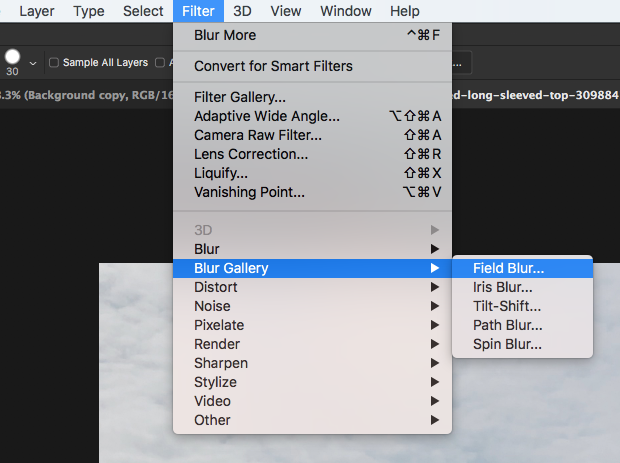Photoshop's Filter >> Blur Gallery >> Field Blur
